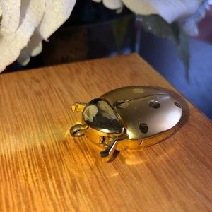 Vintage GoldTone Ladybug Pocket Watch
